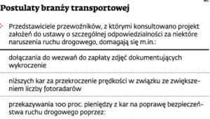 Postulaty branży transportowej
