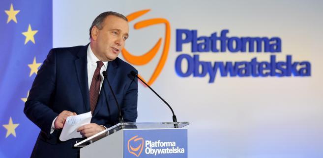 Przewodniczący PO Grzegorz Schetyna przemawia, podczas posiedzenia Rady Krajowej Platformy Obywatelskiej w Warszawie