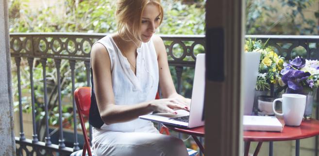 biznes, kobieta, komputer, firma