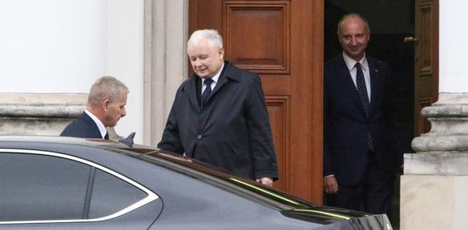 Jarosław Kaczyński opuścił Belweder po spotkaniu z Andrzejem Dudą