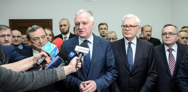 Prezes Porozumienia Jarosław Gowin, senator Andrzej Stanisławek, poseł Józef Zając oraz przewodniczący rady regionu w województwie lubelskim Zbigniew Wojciechowski.