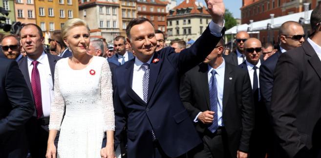 Andrzej Duda i Agata Kornhauser-Duda na obchodach 3 maja