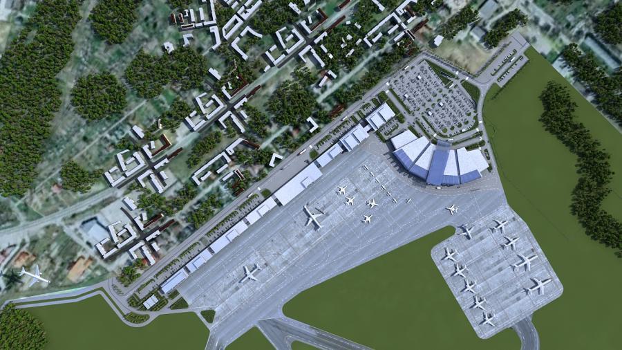 Port Lotniczy Radom z lotu ptaka - wizualizacja projektu docelowego