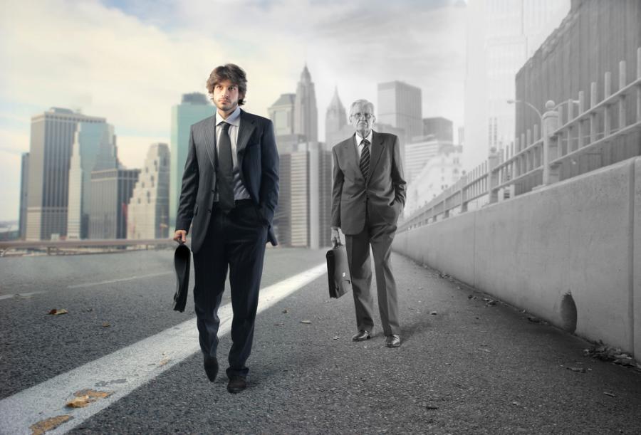 biznesmen, młody, emeryt, praca
