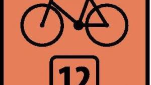 Znak R-4 informujący o określonym szlaku rowerowym