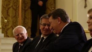 Prezydent Bronisław Komorowski oraz prezes grupy Infor PL Ryszard Pieńkowski
