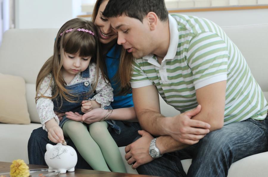 rodzina, dziecko, pieniądze, oszczędności
