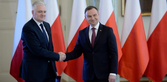 Prezydent Andrzej Duda i wicepremier, minister nauki i szkolnictwa wyższego Jarosław Gowin
