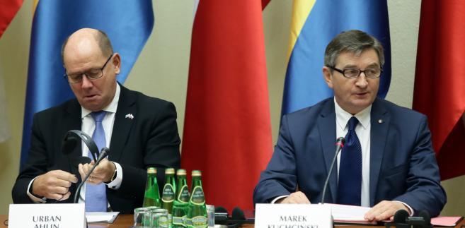 Marszałek Sejmu Marek Kuchciński i przewodniczący Riksdagu Urban Ahlin
