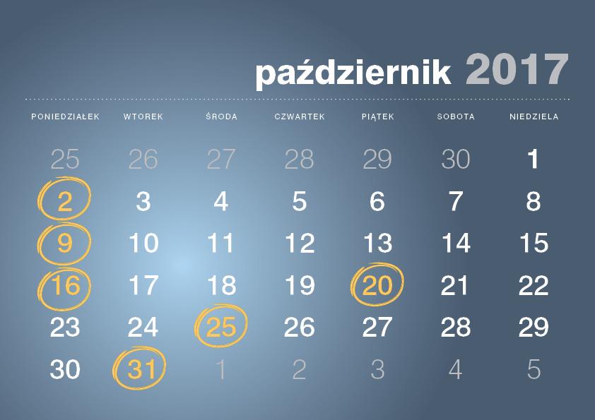 Kalendarz podatnika październik