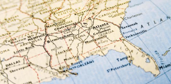 USA, Atlanta, mapa