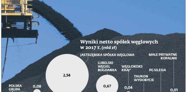 Wyniki netto spółek węglowych w 2017 r. (mld zł)