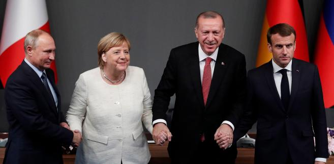 Angela Merkel Emmanuel Macron Tayyip Recep Erdogan i Władimir Putin
