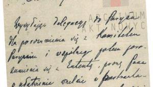 Fragment listu Józefa Piłsudskiego do Romana Dmowskiego, w którym prosi go o reprezen- towanie Polski na konferencji wersalskiej