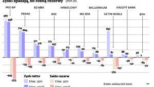 Zyski spadają, bo rosną rezerwy